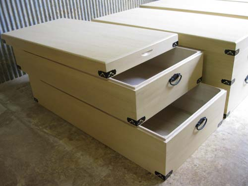 木箱 衣装箱 桐 総桐衣装箱2段重ね 製造直売 商品番号450T2