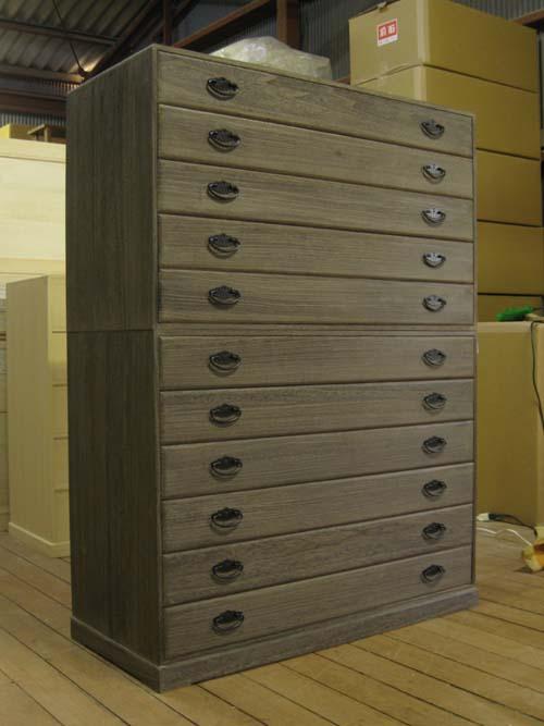 桐タンス たんす チェスト 総桐着物箪笥11段・時代仕上げ・全段通し棚板 製造直売 商品番号165KY