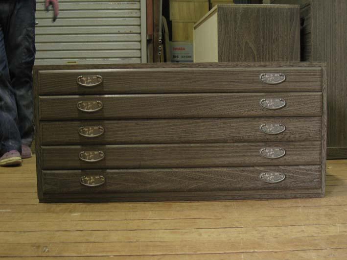 桐たんす 着物 収納 整理 総桐整理箪笥5段・上置きタイプ・時代仕上げ 製造直売 商品番号 48305U