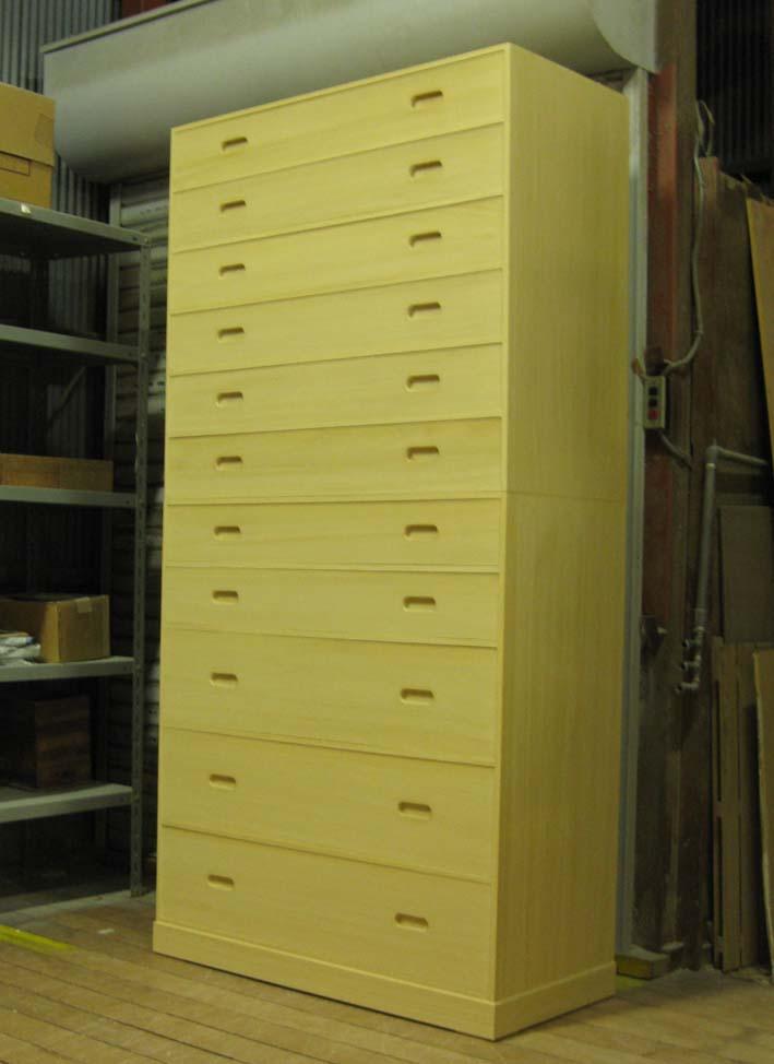 桐たんす 桐タンス チェスト 収納 総桐整理箪笥11段・重ね式 オーダー 製造直売 商品番号 691601