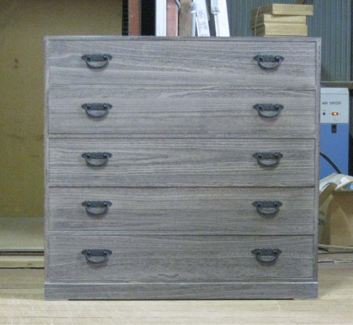 たんすタンスチェスト収納シンプル5段総桐整理箪笥5段・全段通し棚板・時代仕上げ製造直売商品番号7484
