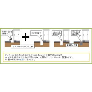 転倒防止工事費【下地がアスファルトの場合】(33000)円
