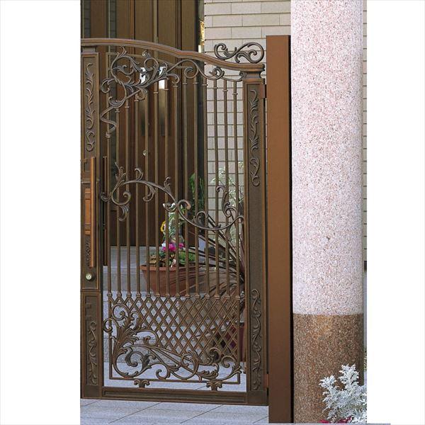 三協アルミ 門扉 グレースクラウン 1型 片開きセット 門柱タイプ 0916 いぶし銅(BI) いぶし銅(BI)