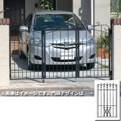 三協アルミ 門扉 プロヴァンス 4型 3枚折りセット 門柱タイプ 0610  アートブラック(KA) アートブラック(KA)