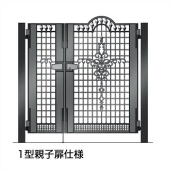 四国化成 ビビオ門扉 1型 柱仕様 親子開き 0412+0812 ブラックつや消し