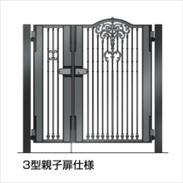 四国化成 ビビオ門扉 3型 柱仕様 親子開き 0412+0812 ブラックつや消し