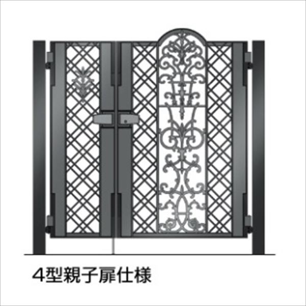 四国化成 ビビオ門扉 4型 柱仕様 親子開き 0412+0812 ブラックつや消し