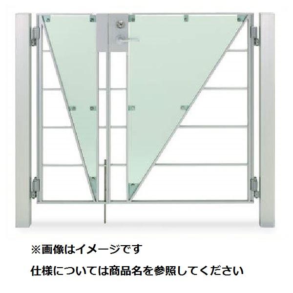 四国化成 マイ門扉 S2型 柱仕様 両開き 0812 ポリカタイプ シルバーつや消し/ガラス色マット調