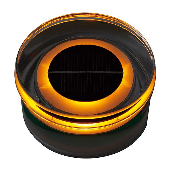 タカショー ソーラーガーデンライティング(ローボルト) タイルドライトソーラー ラウンド (LED色:オレンジ) #61756200 HCC-O01T *取付には専用のベースが別途必要です
