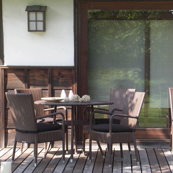 かじ新 RAUCORD PARMA+AMALFI アームチェア+ダイニングテーブル 『ガーデンファニチャー』 *クッション料金含みます ダークブラウン