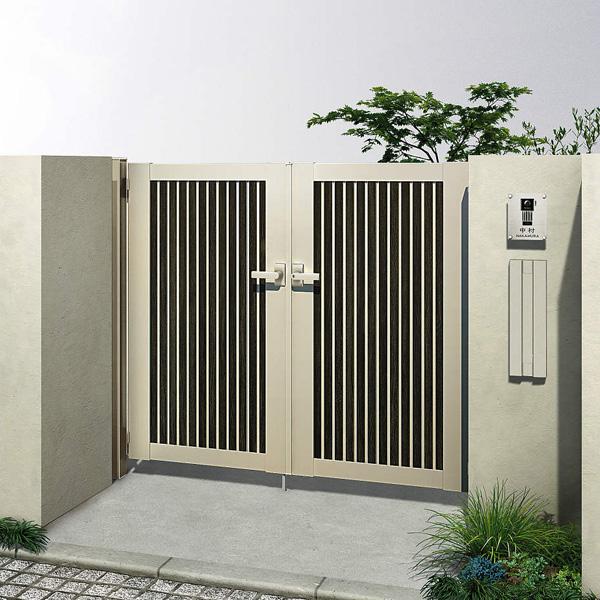 YKKAP ルシアス門扉CW03型 たて目隠し 10-10 両開き 門柱仕様 UME-CW03 複合カラー