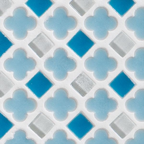 オンリーワン ミニッツモザイク フラワーミックスシリーズ(10mm角・13mm花形Mix貼り) 施釉タイプ カラー4 EZ2-FM04 3シート入り