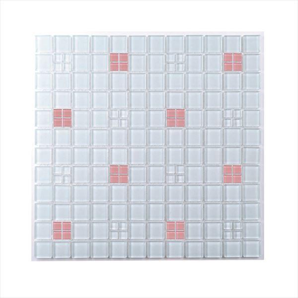 オンリーワン モザイクガラス ガラスタイルシート プチパターンミックス 10&25角 ピンク系 KG2-PX103 2枚入り