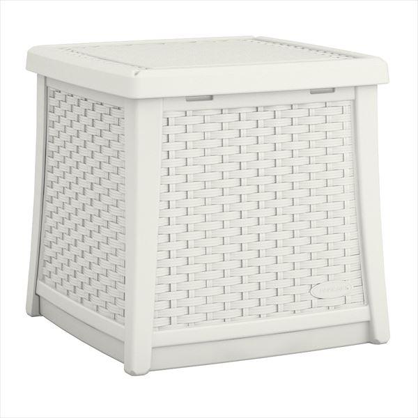 SUNCAST ラタン調テーブルボックス(S) ホワイト BMDB1300W 『ガーデンボックス』