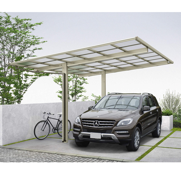 YKKAP エフルージュ プラス 基本セット 標準柱(H20) 51-1227 ポリカーボネート屋根 JCS-X 『アルミカーポート 1台用』