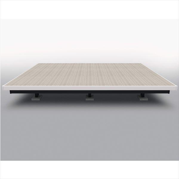 三協アルミ 屋外フローリング ラステラ 2.5間×12尺 床張り出し納まり ツートンフレームタイプ(下幕板黒) 束柱・固定/ロングタイプ NRD2-1512L 『ウッドデッキ 人工木 樹脂デッキの進化形』