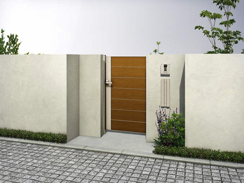 送料無料 YKKAP 高額売筋 横板張りのインダストリアルデザインの門扉です ルシアス門扉W06型 売れ筋ランキング 片開き UME-W06 複合カラー 門柱仕様 内開き仕様 10-12