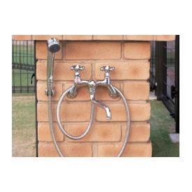 ニッコー シャワープレイス用水栓金具(カランパイプあり) PF-S4-M 『水栓柱・立水栓 オプション ニッコーエクステリア』 クロームメッキ