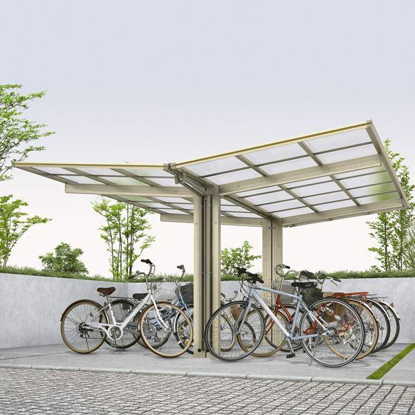 サイクルポート YKK ap エフルージュグラン ミニ Y29-21・21 熱線遮断ポリカ屋根 Y合掌セット 『サビに強いアルミ製 家庭用 おしゃれ 自転車置き場 屋根』 帯・木目カラー