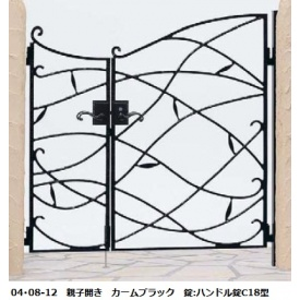 YKKAP シャローネシリーズ トラディシオン門扉10型 04・08-12 門柱・親子開きセット