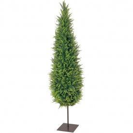 『人工植栽』 タカショー グリーンデコ鉢付 ゴールドクレスト 1.8m  プレート付き GD-101