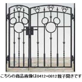 リクシル 新日軽 ディズニー門扉 角門柱式 ミッキーA型 0410+0810 親子開き ブラック
