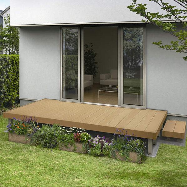 YKKAP リウッドデッキ200 Lタイプ 高さ850~1000 3.5間×3尺(2連棟) ウッドデッキ 人工木 樹脂 diy