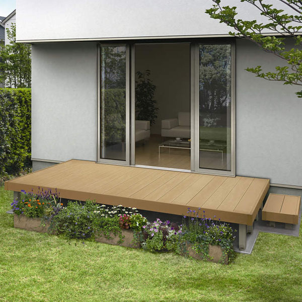 YKKAP リウッドデッキ200 Lタイプ 高さ850~1000 3.5間×6尺(2連棟) ウッドデッキ 人工木 樹脂 diy