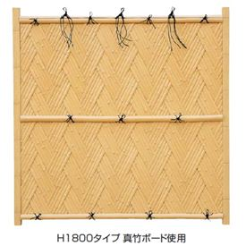 タカショー エバー 23型セット(京庵あじろ) 60角柱(片面) 基本型(両柱) 高さ1800タイプ 『竹垣フェンス 柵』 枯さらし