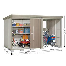 タクボ物置 TP/ストックマンプラスアルファ TP-3722 一般型 標準屋根 『追加金額で工事も可能』 『駐輪スペース付 屋外用 物置 自転車収納 におすすめ』 カーボンブラウン