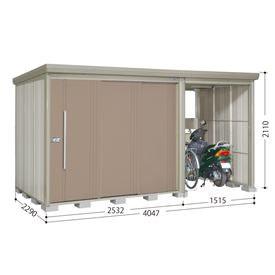 タクボ物置 TP/ストックマンプラスアルファ TP-S4022 多雪型 標準屋根 『追加金額で工事も可能』 『駐輪スペース付 屋外用 物置 自転車収納 におすすめ』 カーボンブラウン