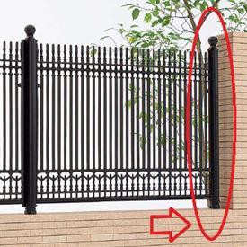 四国化成 ロードスフェンス丸飾り支柱仕様 04:丸飾り端柱 (コーナー鋭角柱兼用) 04KEP-10BK 『アルミフェンス 柵』 ブラックつや消し