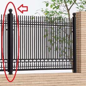 四国化成 ビビオ/ロマナクロスフェンス 丸飾り支柱仕様 04:丸飾り主柱 04KMP-06BK 『アルミフェンス 柵』 ブラックつや消し