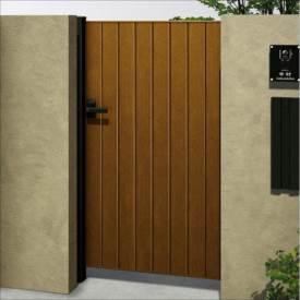 YKKAP ルシアス門扉BW03型 たて板張り(鋲なし) 10-16 片開き UME-BW03 木調カラー