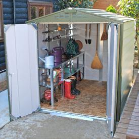 ガーデナップ メタルシェッド TM1 TM10G アペックスルーフ 物置  『おしゃれ 物置小屋 屋外 自転車の収納にもおすすめ』 オリーブグリーン