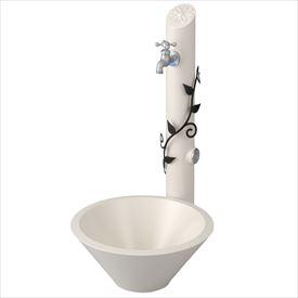 トーシン 水栓柱 アン フルール SC-UN-FLUS 立水栓+水栓パン(受け)+蛇口セット リーフ/ブラック
