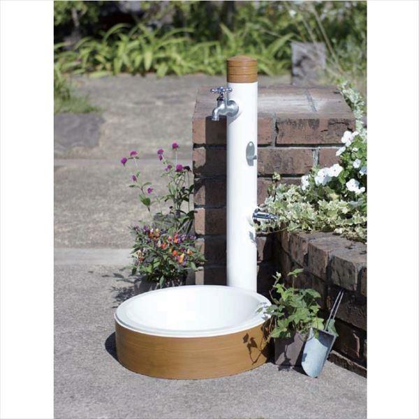トーシン 水栓柱 アン アルブラン SC-UN-ARB 立水栓+水栓パン(受け)+蛇口(補助蛇口付)+アルブラン専用フックセット パイン