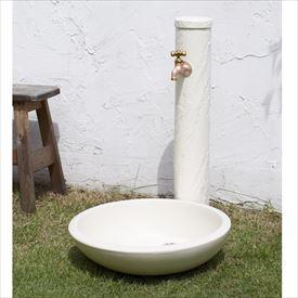 トーシン 水栓柱 サガン SC-SAG-IV 立水栓+水栓パン トレビ:丸(受け)+蛇口セット アイボリー