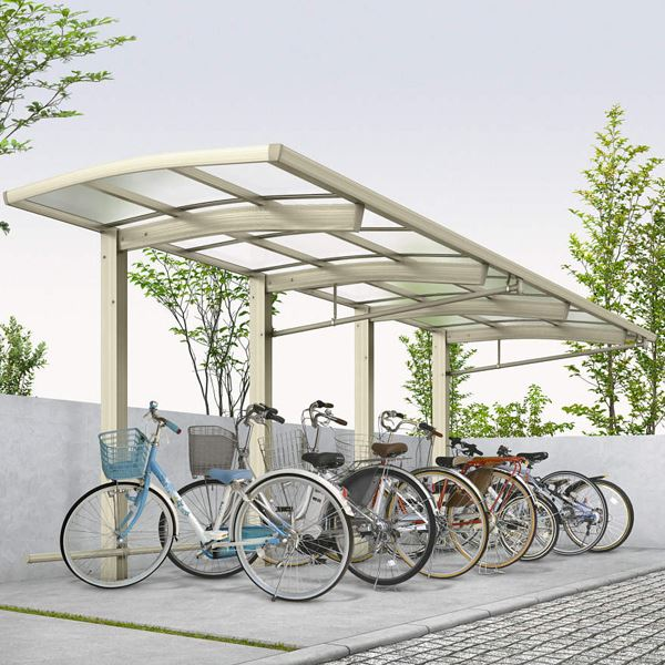 サイクルポート YKKAP レイナポートREグラン ミニ J22・22-21 たて(2)連棟セット 熱線遮断ポリカ屋根 標準高さ 『サビに強いアルミ製 家庭用 おしゃれ 自転車置き場 屋根』