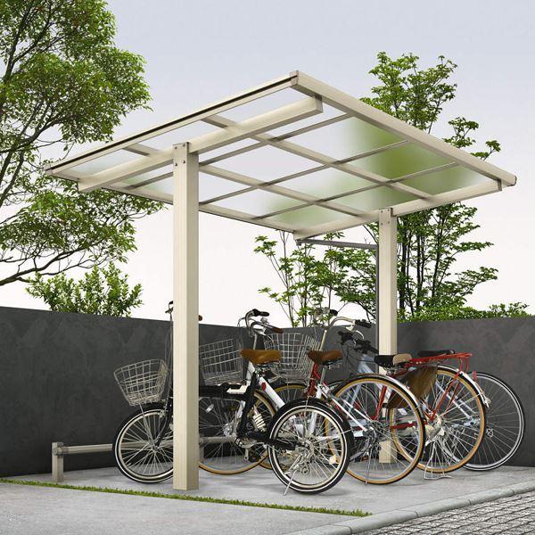 サイクルポート YKKAP エフルージュグラン ミニ ZERO 22-20 基本セット 標準高さ ポリカ屋根 『サビに強いアルミ製 家庭用 おしゃれ 自転車置き場 屋根』 アルミ形材色+木目色