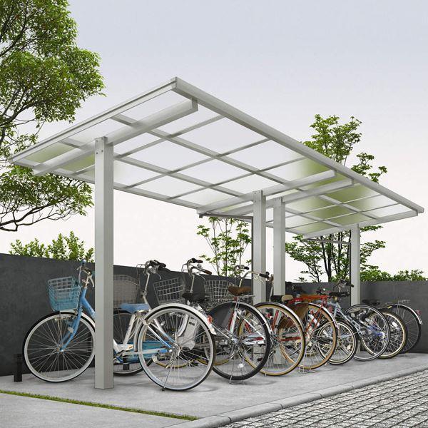 サイクルポート YKKAP エフルージュグラン ミニ ZERO J22・22-20 たて(2)連棟セット 標準高さ 熱線遮断ポリカ屋根 『サビに強いアルミ製 家庭用 おしゃれ 自転車置き場 屋根』 アルミ形材色