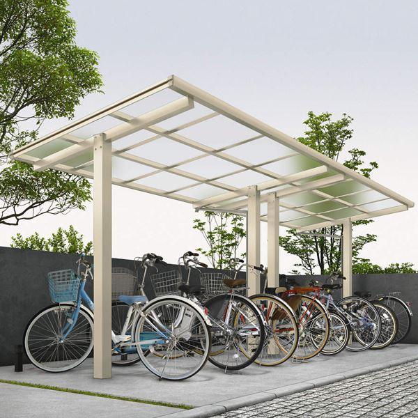 サイクルポート YKKAP エフルージュグラン ミニ ZERO J22・22-20 たて(2)連棟セット 標準高さ ポリカ屋根 『サビに強いアルミ製 家庭用 おしゃれ 自転車置き場 屋根』 アルミ形材色+木目色