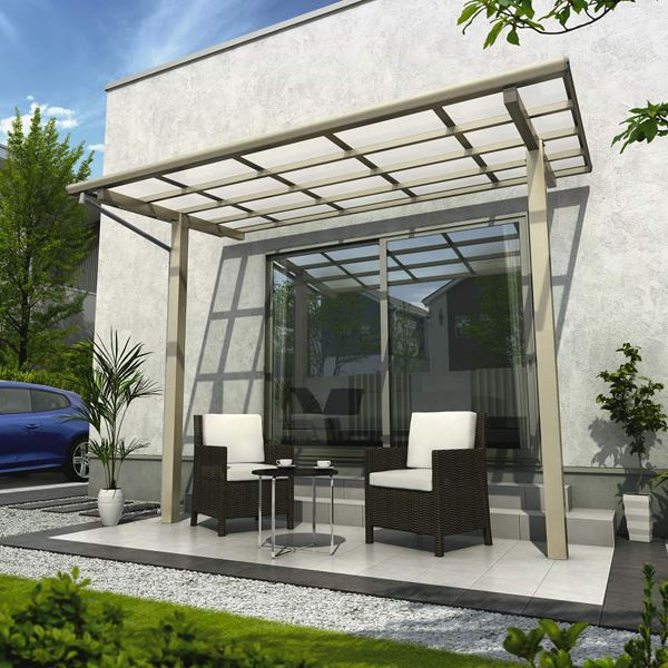 YKK ap 独立テラス屋根(600N/m2) エフルージュグラン ZERO 1.5間×5尺 標準柱(H2600) T字構造タイプ 熱線遮断ポリカ 帯・木目カラー