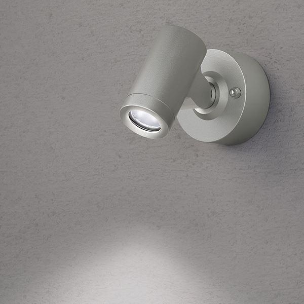 タカショー ウォールライト(ローボルト) エクスレッズ スポットウォールライト1型 HBA-W06S #73029200 *LED交換不可 『エクステリア照明 ライト』 シルバー/LED色(白)