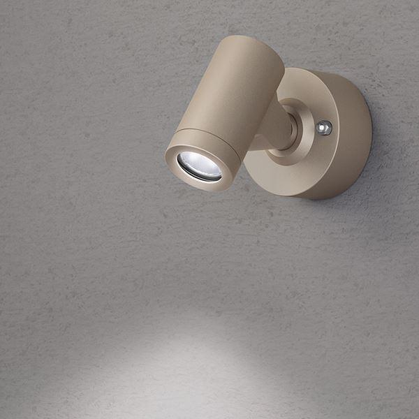 タカショー ウォールライト(ローボルト) エクスレッズ スポットウォールライト1型 HBA-W06G #73027800 *LED交換不可 『エクステリア照明 ライト』 グレイッシュゴールド/LED色(白)