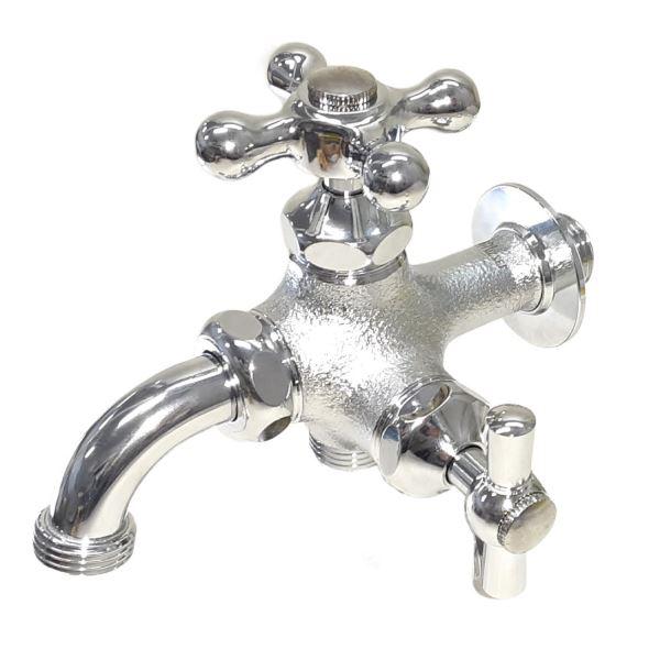 トーシン 蛇口 二口横水栓MIX(メッキ) JA-FBD13-HIM-UN 『水栓柱・立水栓 蛇口』