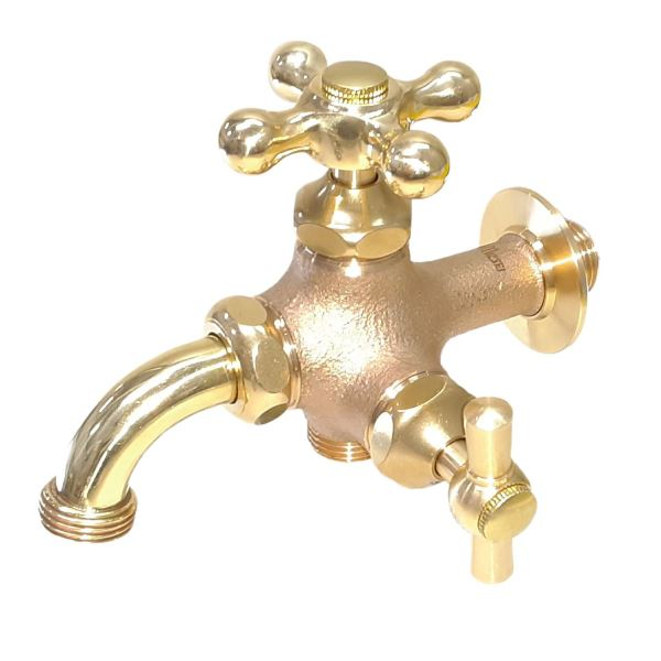トーシン 蛇口 二口横水栓MIX(研磨) JA-FBD13-HIB-UN 『水栓柱・立水栓 蛇口』