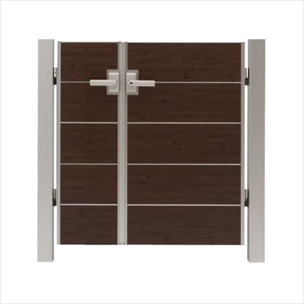 タカショー エバーアートウッド門扉 シンプルスタイル 柱仕様 W400・800×H1000 両開き レバーハンドル錠