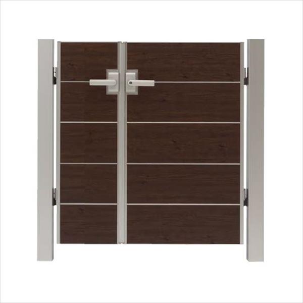 タカショー エバーアートウッド門扉 シンプルスタイル 柱仕様 W400・800×H1200 両開き レバーハンドル錠