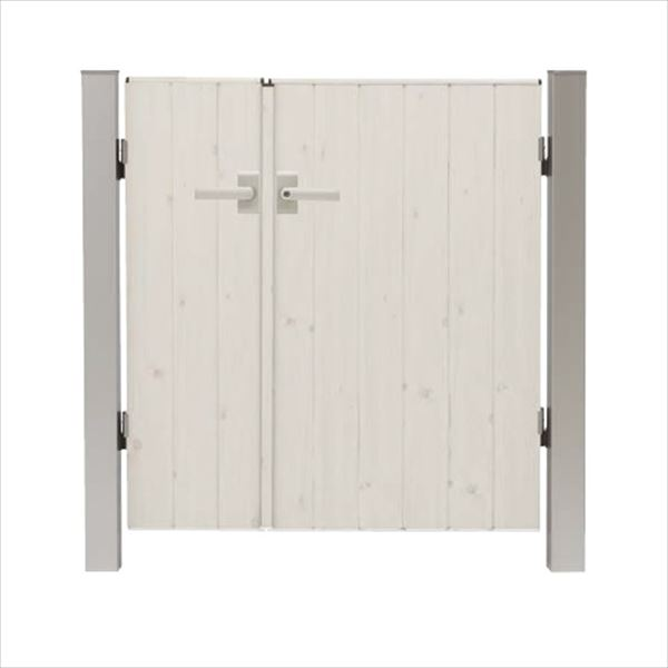 タカショー エバーアートウッド門扉 ナチュラルスタイル 柱仕様 W400・800×H1200 両開き レバーハンドル錠